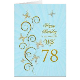 Aniversário da esposa 78th com borboletas douradas cartões