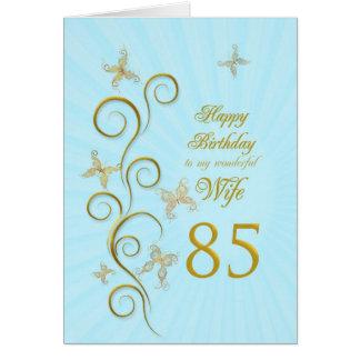 Aniversário da esposa 85th com borboletas douradas cartão