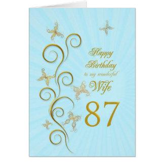 Aniversário da esposa 87th com borboletas douradas cartão