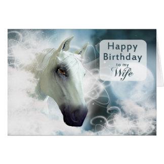 Aniversário da esposa, cavalo árabe cartão comemorativo