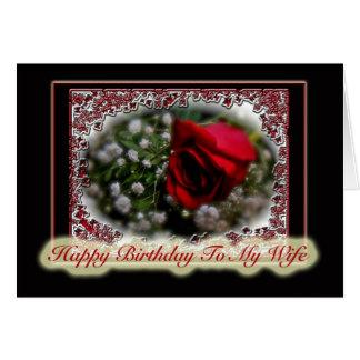 Aniversário da esposa cor-de-rosa & respiração do  cartão comemorativo