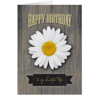 Aniversário da esposa, madeira rústica e design da cartão comemorativo