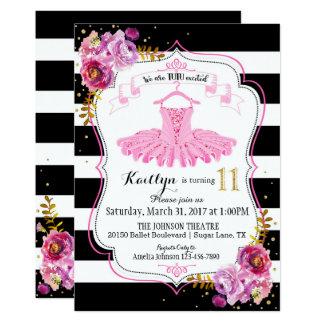 Aniversário da faísca floral da bailarina do tutu convite 12.7 x 17.78cm