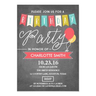 Aniversário da festa de aniversário | convite 12.7 x 17.78cm