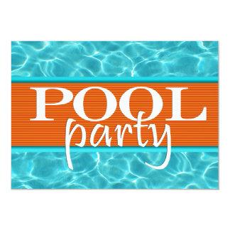 Aniversário da festa na piscina convite 12.7 x 17.78cm