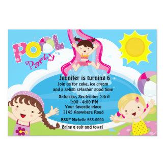 Aniversário da festa na piscina das meninas convite 12.7 x 17.78cm