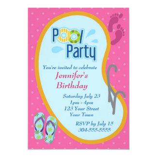 Aniversário da festa na piscina do falhanço de convites personalizado