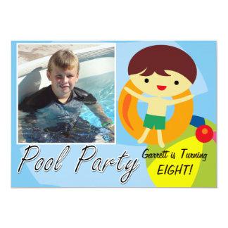 Aniversário da festa na piscina do menino do verão convite 12.7 x 17.78cm