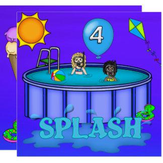 """Aniversário da festa na piscina do """"respingo"""" 4o convite quadrado 13.35 x 13.35cm"""