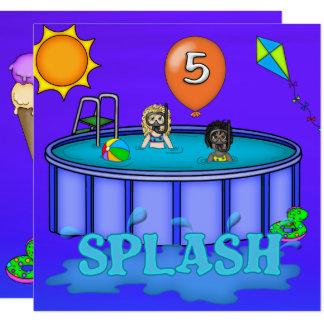 """Aniversário da festa na piscina do """"respingo"""" 5o convite quadrado 13.35 x 13.35cm"""