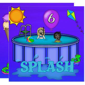"""Aniversário da festa na piscina do """"respingo"""" 6o convite quadrado 13.35 x 13.35cm"""