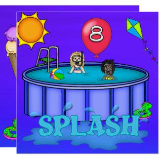 """Aniversário da festa na piscina do """"respingo"""" 8o convite quadrado 13.35 x 13.35cm"""