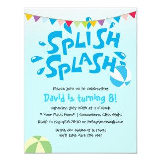 Aniversário da festa na piscina do respingo do convite 10.79 x 13.97cm