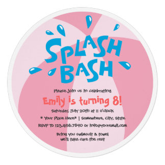 Aniversário da festa na piscina do respingo do ver convite personalizado