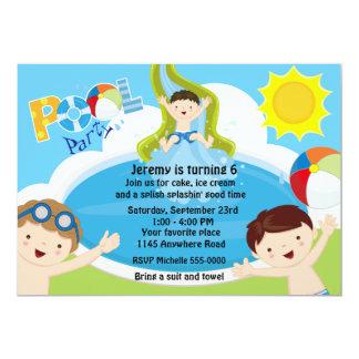 Aniversário da festa na piscina dos meninos convite 12.7 x 17.78cm