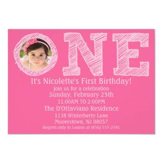 Aniversário da foto da princesa Cor-de-rosa Grande Convite 12.7 X 17.78cm