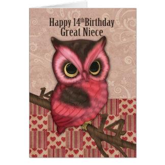 Aniversário da grande sobrinha 14o com coruja cartão comemorativo