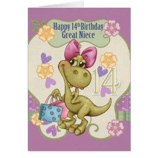 Aniversário da grande sobrinha 14o com dinossauro cartão comemorativo