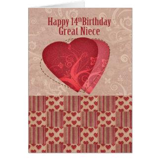 Aniversário da grande sobrinha 14o com estilo cartão comemorativo