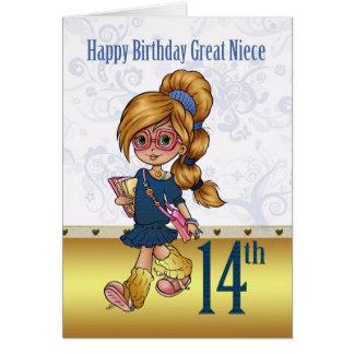 Aniversário da grande sobrinha 14o com menina na m cartao
