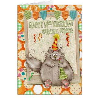 Aniversário da grande sobrinha 14o com o gato do cartão comemorativo