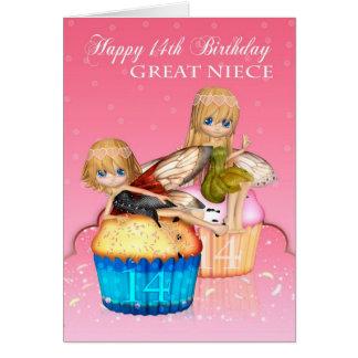 Aniversário da grande sobrinha o 14o com fadas cartão comemorativo