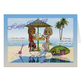 Aniversário da irmã, vida da praia da coleção da cartão comemorativo