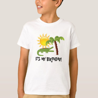 Aniversário da luz do sol da palmeira do jacaré camiseta
