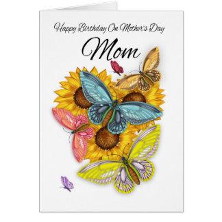 Aniversário da mamã no cartão do dia das mães com