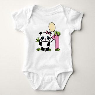 Aniversário da menina da panda primeiro body para bebê