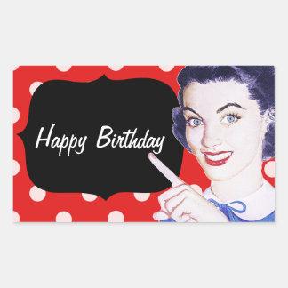 aniversário da mulher apontando dos anos 50 adesivo retangular