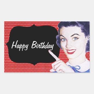 aniversário da mulher apontando dos anos 50 adesivos retangulares