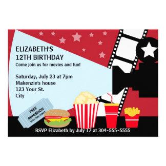Aniversário da noite de cinema convite