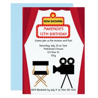 Aniversário da noite de cinema convite 12.7 x 17.78cm
