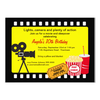 Aniversário da noite de cinema e do Sleepover Convite Personalizados