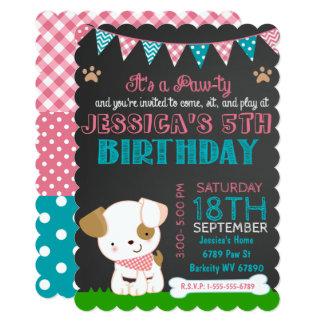 Aniversário da Pata-ty do filhote de cachorro do Convite 12.7 X 17.78cm