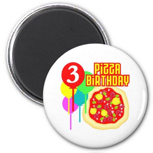 Aniversário da pizza do aniversário de 3 anos imã