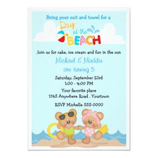 Aniversário da praia do urso de ursinho convite 12.7 x 17.78cm