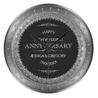 Aniversário da prata & de casamento do preto 25o relógios de paredes