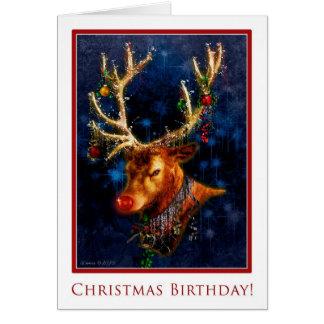 Aniversário da rena no cartão de Natal