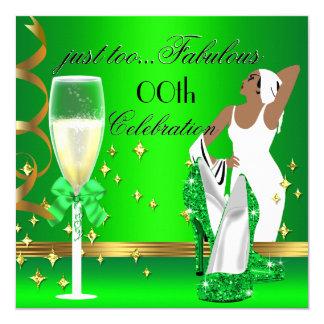 Aniversário da senhora Cimentação Ouro Demasiado Convite Quadrado 13.35 X 13.35cm