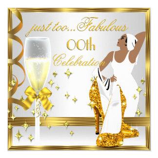 Aniversário da senhora Ouro Branco Demasiado Convite Quadrado 13.35 X 13.35cm