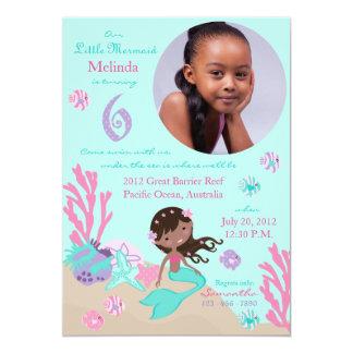 Aniversário da sereia africana sexto convite 12.7 x 17.78cm