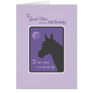 Aniversário da sobrinha 18o com o cavalo na noite cartão comemorativo