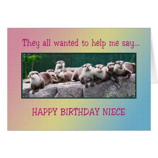 Aniversário da sobrinha com lontras cartões