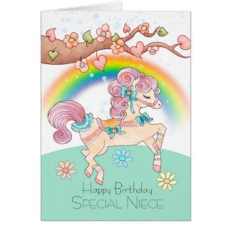 Aniversário da sobrinha com um pônei doce da cartão comemorativo
