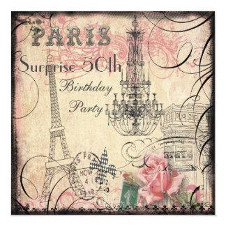 Aniversário da surpresa da torre Eiffel & do Convite Quadrado 13.35 X 13.35cm