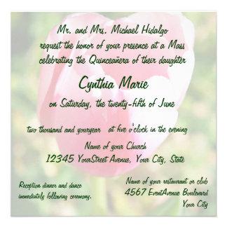 Aniversário da tulipa cor-de-rosa de Quinceanera 1 Convites