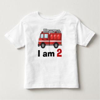 Aniversário da viatura de incêndio camiseta infantil