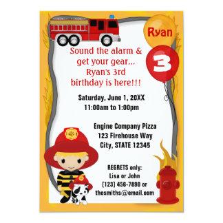 Aniversário Dalmatian FF01C do sapador-bombeiro do Convites Personalizados